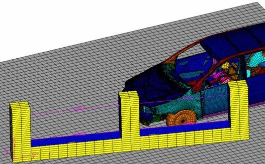 شکل 7. مدل المان محدود خودرو و ديوار