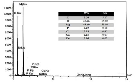 شکل 3-11 نمودار آزمون آشکار ساز الکترون ثانویه (EDS) از سطح کامپوزیت – منیزیم – کربن نانو تیوب – روی با 7 درصد وزنی روی بعد از غوطه وری در محلول رینگر به مدت 18 ساعت
