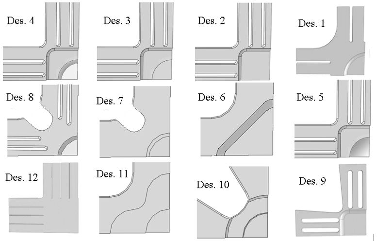 شکل 4- دوازده طرح مختلف از نمونه های صلیبی مورد تحلیل تنش در نرم افزار آباکوس