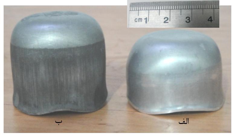 نمونه های شکل گرفته در نیروی ورقگیر متناوب حالت اول در دمای: الف) محیط، ب) °C150.
