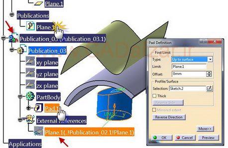 ارتباط Pad.1 با Plane.1