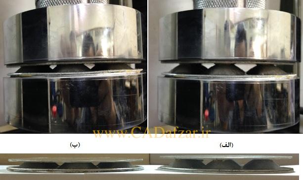 ساندویچ پانل لانه زنبوری پیشنهادی نوع 1در آزمون فشار