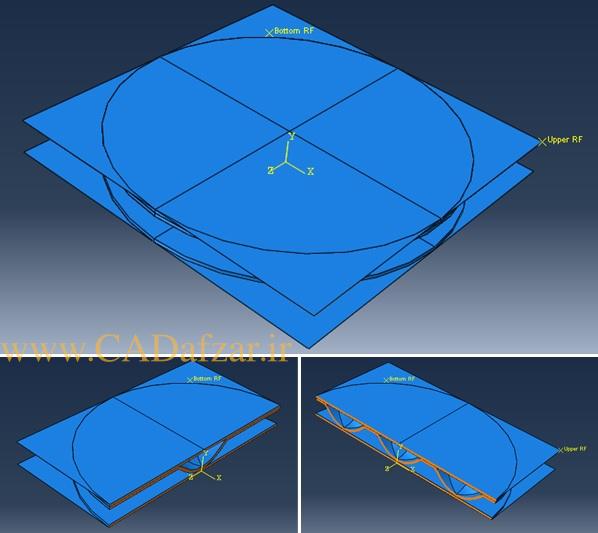 هندسه مورد استفاده در شبیه سازی آزمون فشار