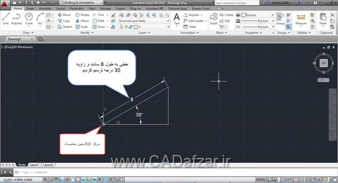 ترسیم از مرکز 0,0 محور مختصات