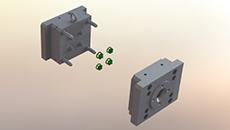 قالب تزریق پلاستیک نام قطعه پوسته صافی یا فیلتر-4 کویتی-جنس PE –با سیستم راهگاه سرد-سیستم پران صفحه ای