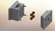 قالب تزریق پلاستیک-نام قطعه چرخ-4کویتی-جنس PA- سیستم راهگاه سرد-سیستم پران میله ای از وسط